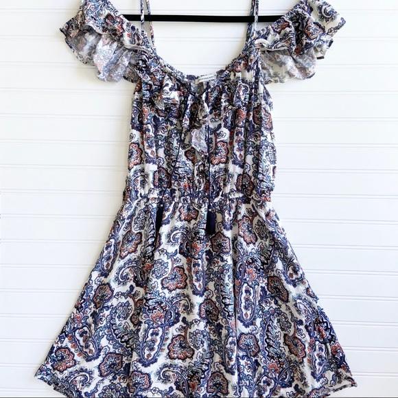 American Eagle Boho Floral Ruffle Mini Sun Dress